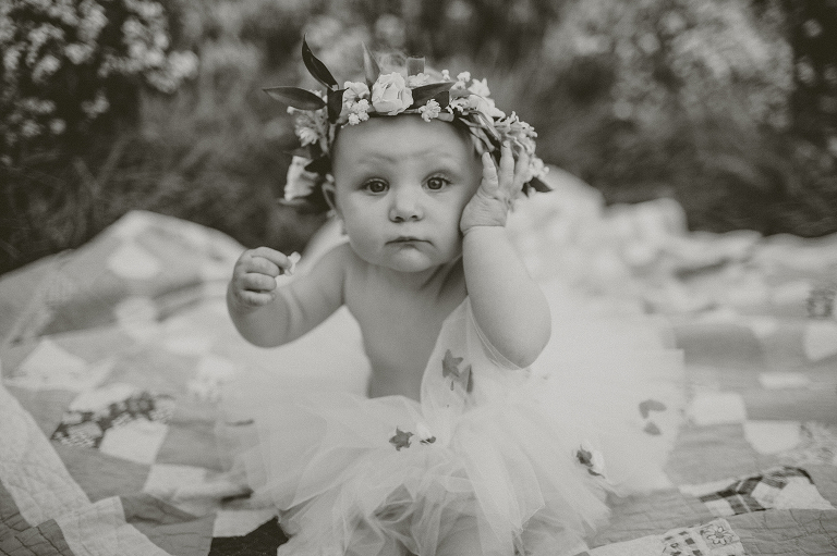 baby with flowers on head overland park photography children